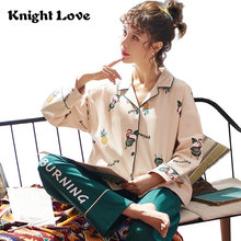 Женский пижамный комплект с длинным рукавом отложным воротником