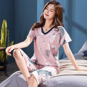 Image 3 - Conjunto de pijamas femininos de tamanho grande, camisola de manga curta macia, estampa de animais de pássaros, pijamas femininas, verão M 4XL