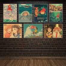 Vintage Poster classic Hayao Miyazaki Ponyo on The Cliff Kraft Paper Poster Bar Cafe Home Decorative Painting Wall Sticker