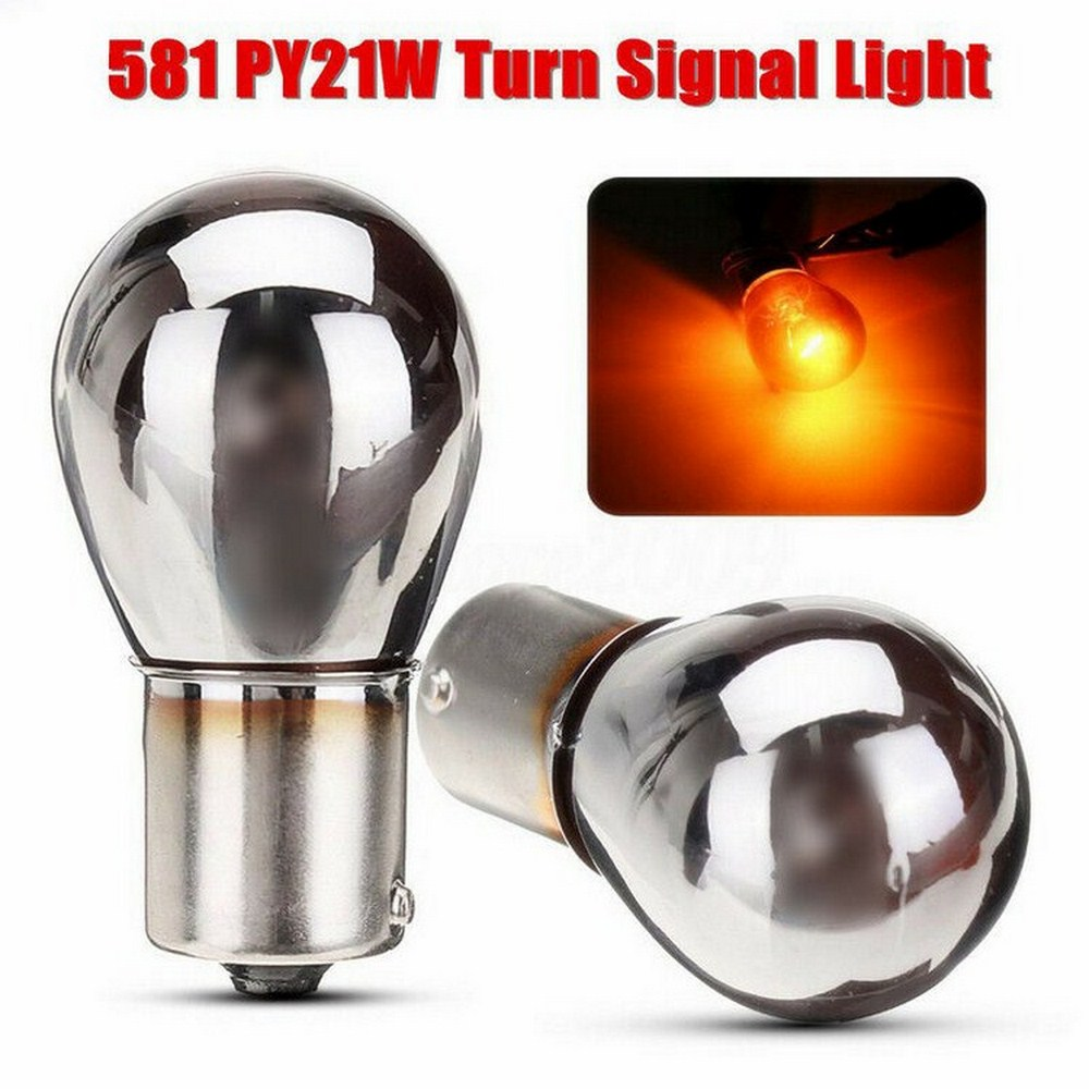 2x Indicator Light Turn Signal Chrome Plated Amber Glass Bulbs 581 BAU15S PY21W