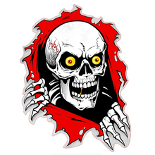 Car Sticker Funny Skull In The Bullet Hole Automobiles Motorcycles Exterior Accessories Vinyl Decals for Bmw Audi Ford,17cm*13cm недорого