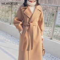 Vogue Long Wool Blend Coats Women Winter Casual Thick Woolen Coat Ladies Korea Turndown Warm Lining Cashmere Coat Female Elegant