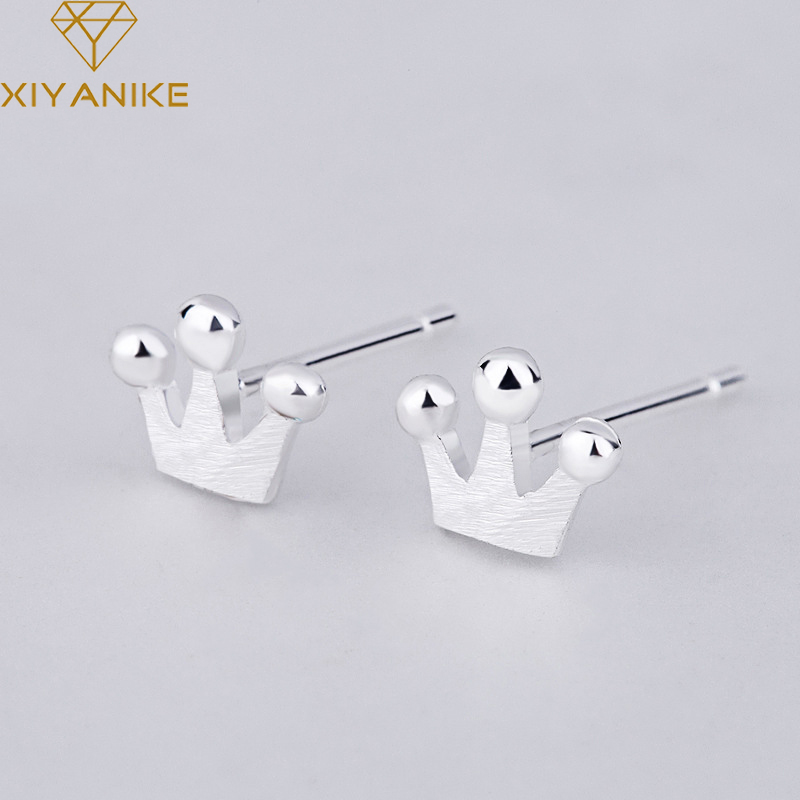 XIYANIKE 925 Sterling Silver New Fashion Korean Style Crown Stud Earrings For Women Small Simple Ear Hoops Jewelry Couple Gift