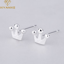 XIYANIKE 925 Sterling Silver New Fashion Korean Style Crown Stud Earrings For Women Small Simple Ear Hoops Jewelry Couple Gift(China)