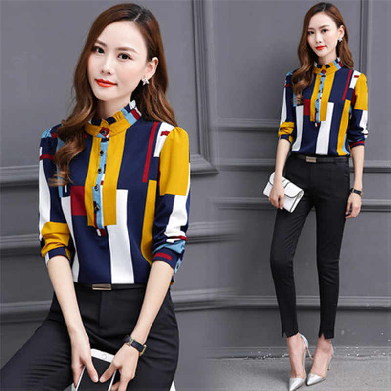 Hot Sale Kroean Style Women's Summer Fashion Blouses Female Long Sleeve Stand Chiffon Shirts High Quality Clothes LWL086