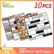 10pcs 3D Wall Sticker DIY Brick stone pattern Self-Adhesive Waterproof Wall paper Kitchen Backsplash Bathroom Wall Tile Stickers