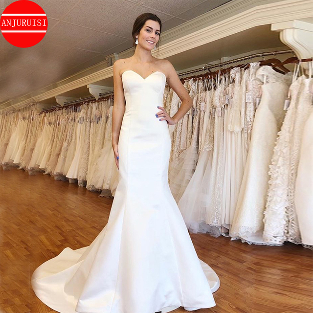 Simple White Ivory Satin Wedding Dresses Sweetheart Mermaid Vestido De Novia 2020 Cheap Custom Made Bridal Gowns Lace Up Back 3