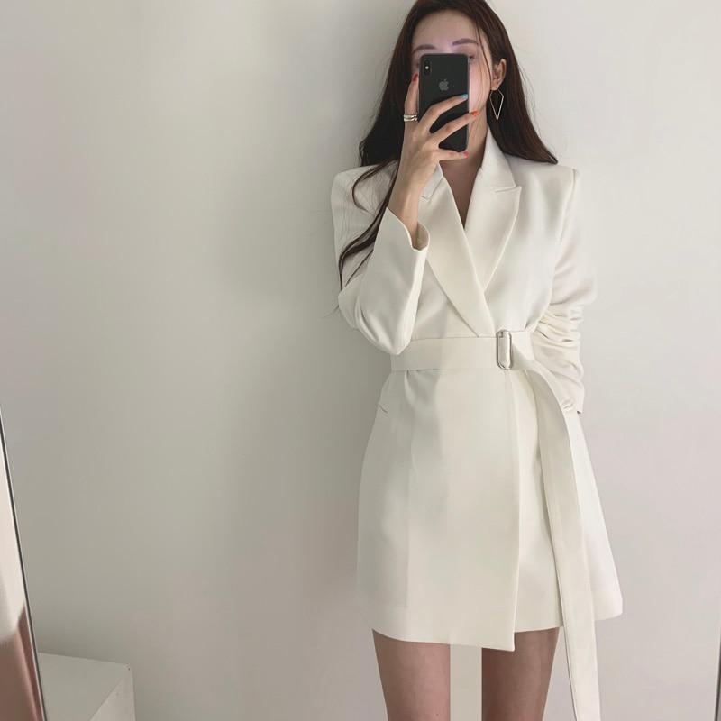 Vintage White Lace Up Women Blazer Notch-neck Loose Women Jacket Elegant Outerwear 2019 Autumn Full Sleeve Female Blazers Jacket