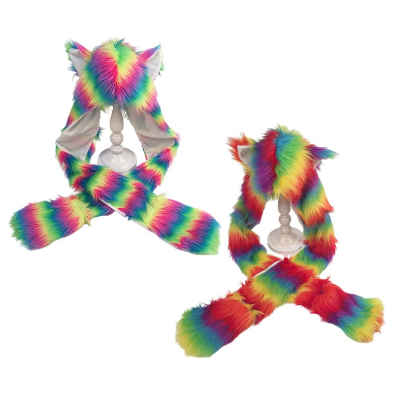 3 In 1 Women Girls Rainbow Fluffy Plush Wolf Ears Animal Hat Hoodie Scarf Earflap Cap With Paws Mittens Gloves Winter Warmer