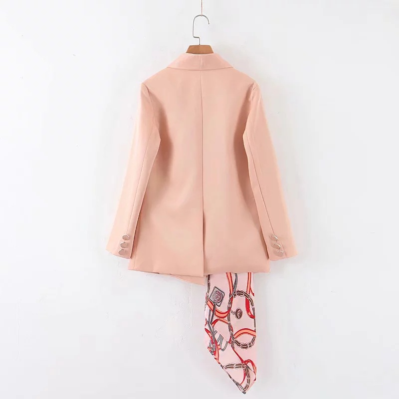 Temperament solid color lady pink jacket suit female 2019 new autumn double-breasted women's blazer Scarf decoration detachable