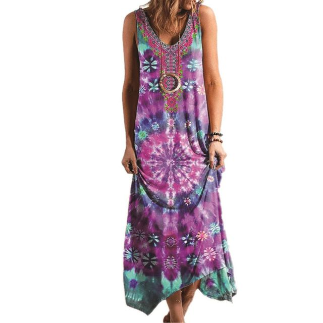 2021 Dress Women Casual Sleeveless Camisole V-neck Print Loose Printed Sexy Bohemian Dress Vestidos Boho Hippie Chic Dress 4