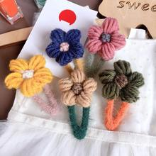 Korean Wool Flower Cute Kids Children Girls Fall Winter BB Hairpins Hair clips Head wear Hair Accessories-SWC5-W5 цена и фото