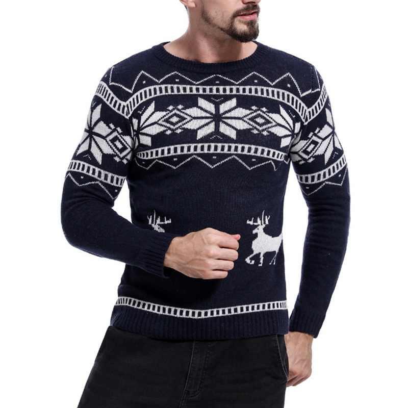 독점적 인 2019 망 캐주얼 슬림 피트 니트 풀오버 스웨터 크리스마스 패턴 남성 봄 가을 o 넥 프린트 탑 롱 슬리브