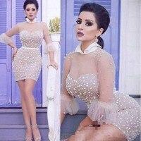 Sext Arbic Dubai Cocktail Pary Dress Beaded Sheer Sleeves 2020 Short Prom Dress Custom Made coctail dress