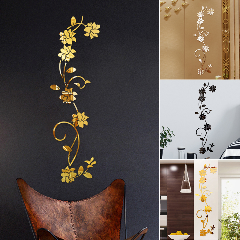 Acrylic Wall Stickers Manual Decor Mirror Removable DIY Wall Sticker Flower Vine Top Quality For Home Office Bedroom Decor 2019