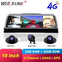 "WHEXUNE 4CH Cameras lens 10""Android Navi car camera FHD 1080P gps rear view mirror ADAS WIFI dvr drive recorder RAM 2GB+ROM 32G"