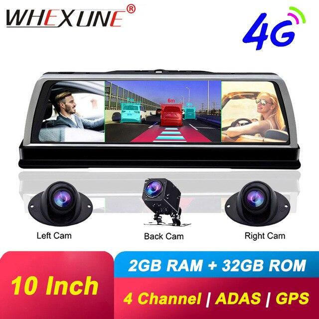 """WHEXUNE 4CH kameralar lens 10 """"Android Navi araba kamera FHD 1080P gps dikiz aynası ADAS WIFI dvr sürücü kaydedici RAM 2GB + ROM 32G"""