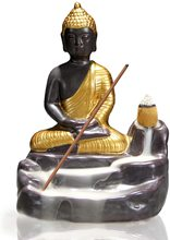 Golden Buddha Backflow Incense Burner with 10 PCS Cones Waterfall Holders Home Decor Gift Decorations