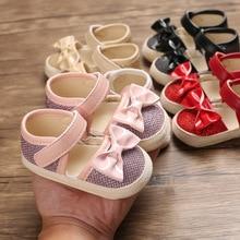 Focusnorm 0-18M Infant Newborn Girl Bow Princess Prewalker Soft-soled Baby Shoes Toddler Sandals Shoes