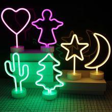 цена на Night Light Christmas Lights USB & Battery Power Supply Rainbow LED Neon Light Wedding Decorations Home Decor Flamingo Neon Lamp