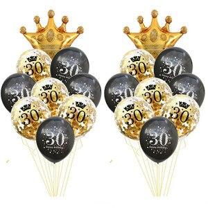 Image 3 - Ballons pour cérémonie danniversaire, 30e, 40e, 50e, colonne de support, noir et or, décorations pour fête danniversaire, adultes de 30 à 40 ans