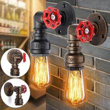 Mejor E27 Vintage tubo de agua lámpara de pared forma de grifo vapor Punk Loft Industrial óxido de hierro Retro Decoración de la barra del hogar iluminación accesorio