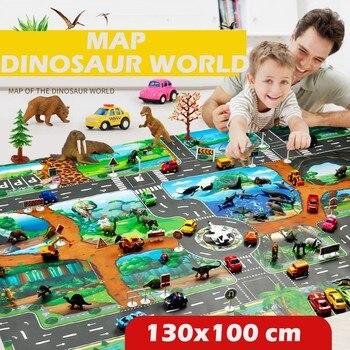 Kids Rug Developing Kids Play Mat Dinosaur World Parking Map Game Scene Map Educational Toys DropShipping gifts