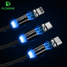 FLOVEME Magnetic Cable 1m Braided Mobile LED Type C Micro USB Magnet Charger Cable For Apple iPhone X 7 8 6 10 Xs Max XR Samsung