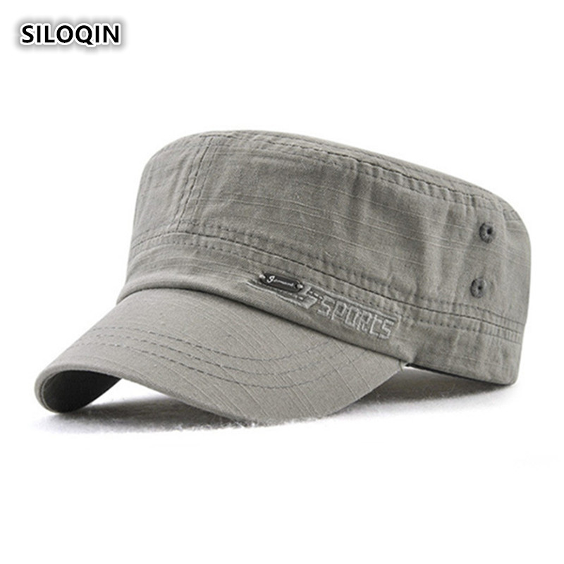 SILOQIN  Mens Flat Cap Summer Autumn New Cotton Military Hat Adjustable Letter Embroidery Snapback Simple Leisure Sports Sunhat