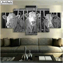 5d diamond painting cow grey photo full square embroidery animal resin mosaic crafts living room decoration