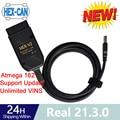 Интерфейс HEX V2 real 21,3 16pin 20,12 VAG COM новейший диагностический кабель VAG ATMEGA162 + 16V8 интерфейс 2 для сидений VW AUDI Skoda