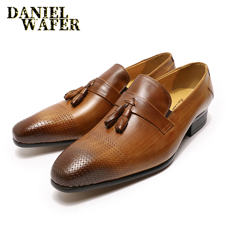 Luxury Men Genuine Leather Shoes Casual Tassel Loafers Slip on Brown Black Handmade Shoes Dress Office Wedding Leather Shoes Men