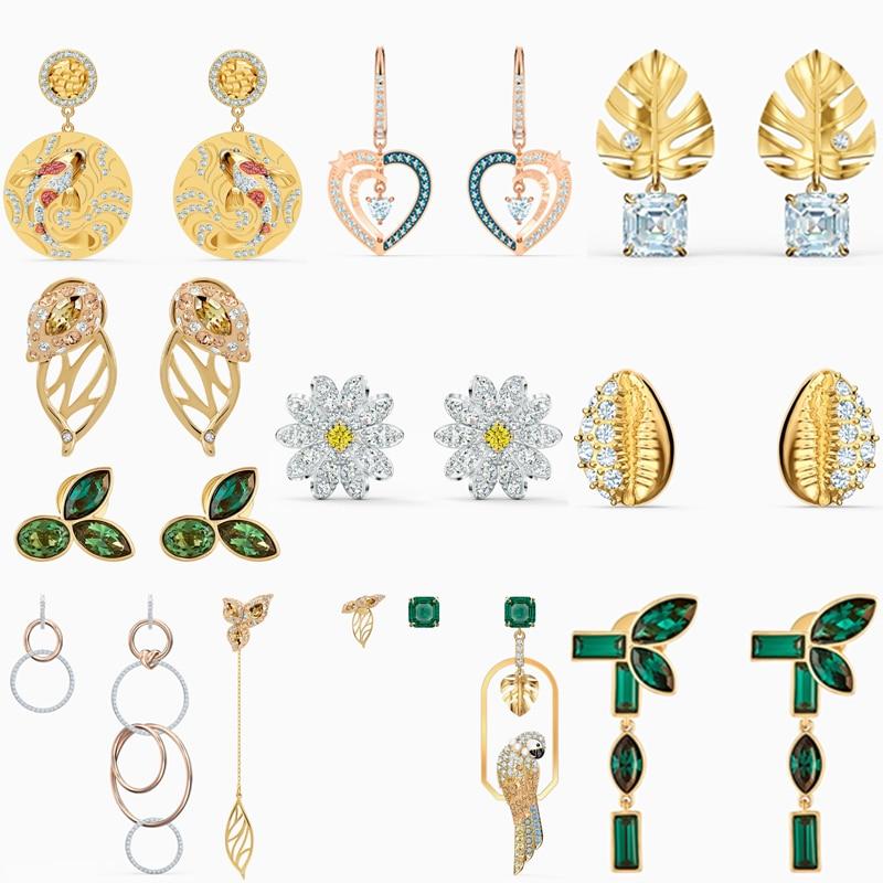High Quality Original SWA Earrings with Original Logo Flowers Heart Round Shape Fashion Charm Women Jewelry Free Shipping