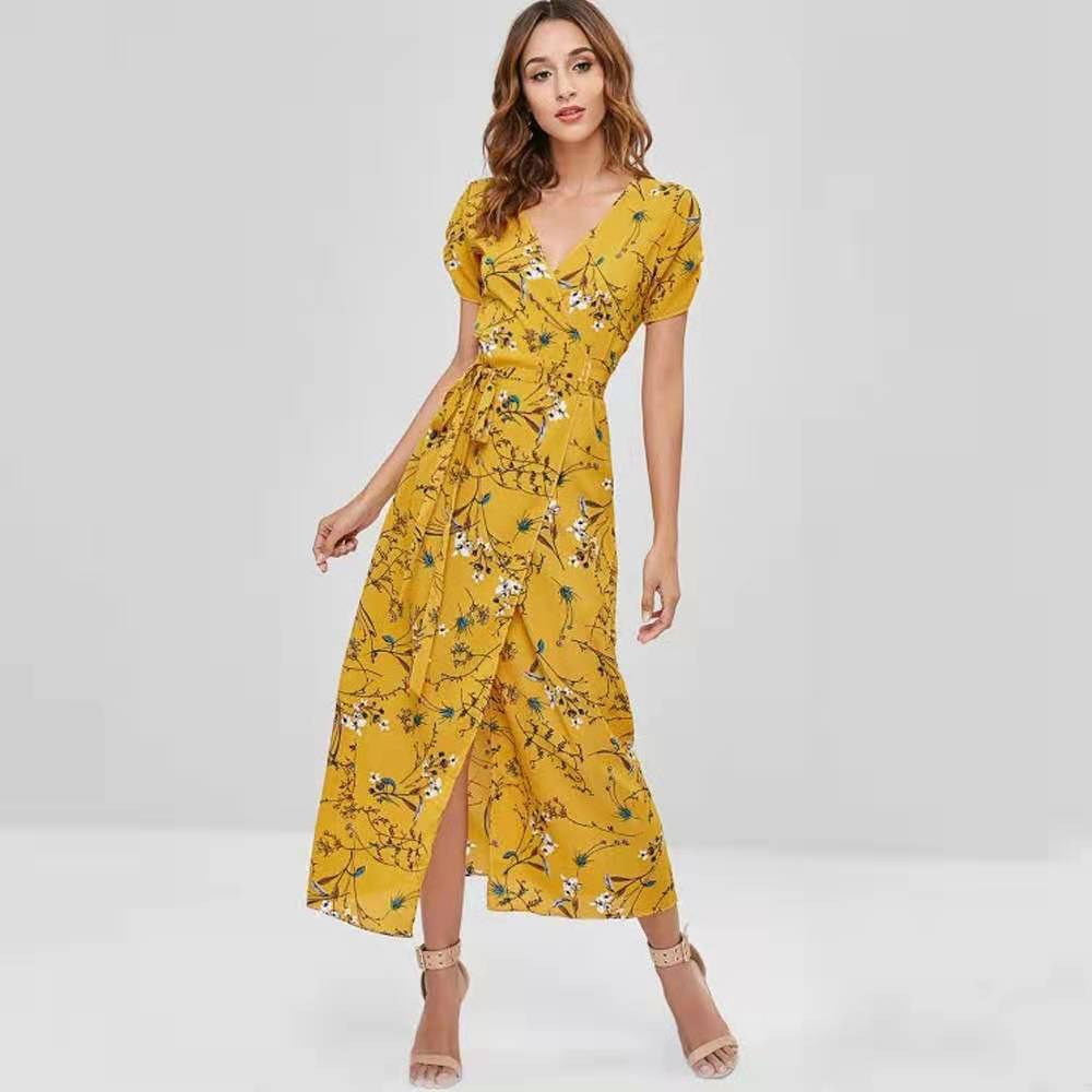 Women V Neck Floral Print Long Dress Sexy Bodycon Dress Beach Sundress Dresses Boho Vintage Party Dresses Maxi Dresses Female