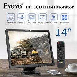 """EYOYO 14 """"ekran tft lcd 1024x768 CCTV TV komputer lcd wyświetlacz dla bezpieczeństwa PC z BNC hdmi vga wejście av Raspberry PI Monitor w Monitory i wyświetlacze do telewizji przemysłowej od Bezpieczeństwo i ochrona na"""