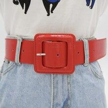 Мода размера плюс широкий ремень большой блестящий лакированная кожа ремни для женщин красный пояс черный ceinture femme taille riem высокое качество