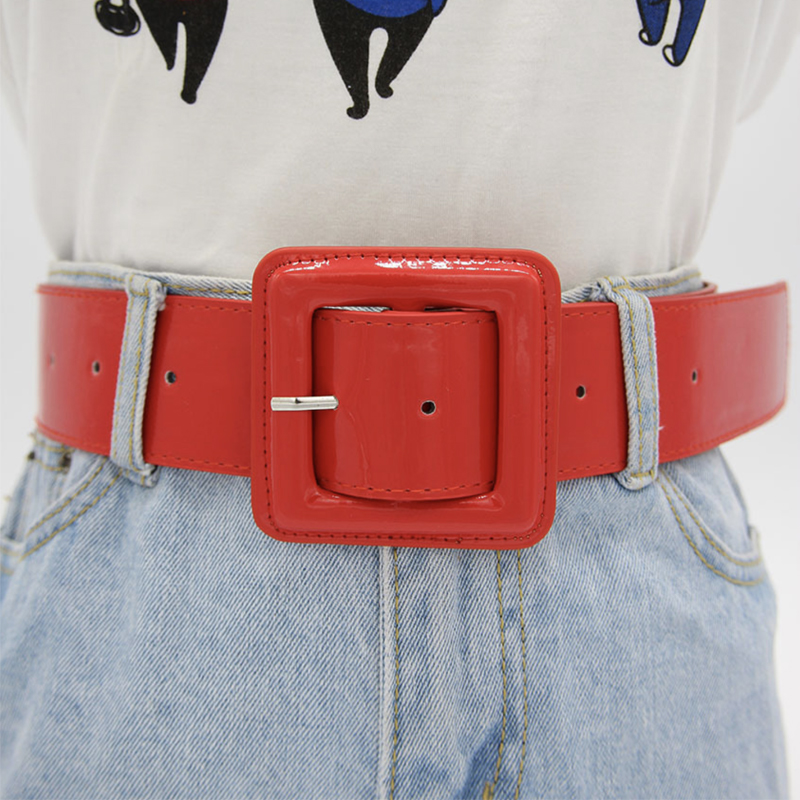 Fashion Plus Size Belt Wide Big Shiny Patent Leather Belts For Women Red Waist Black Ceinture Femme Taille Riem High Quality