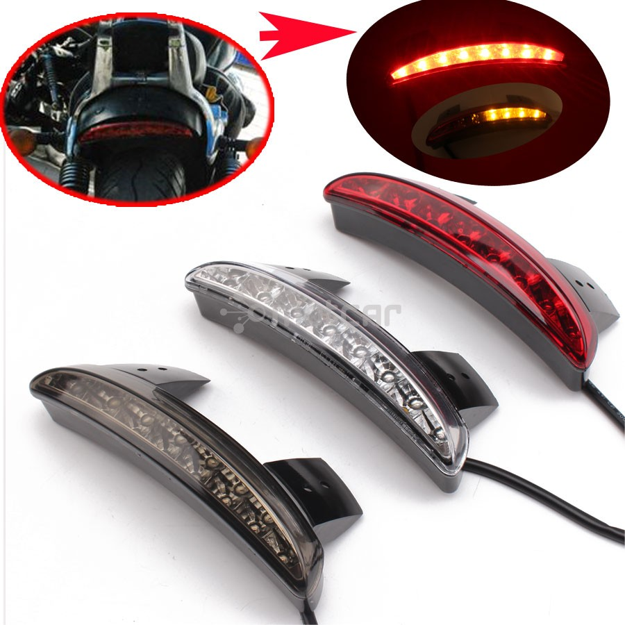 For 2004-2013 Harley Sportster XL883 1200 48 Custom Motorcycle Rear Fender Edge LED Tail + Turn Signal Light Smoke/Clear Lens