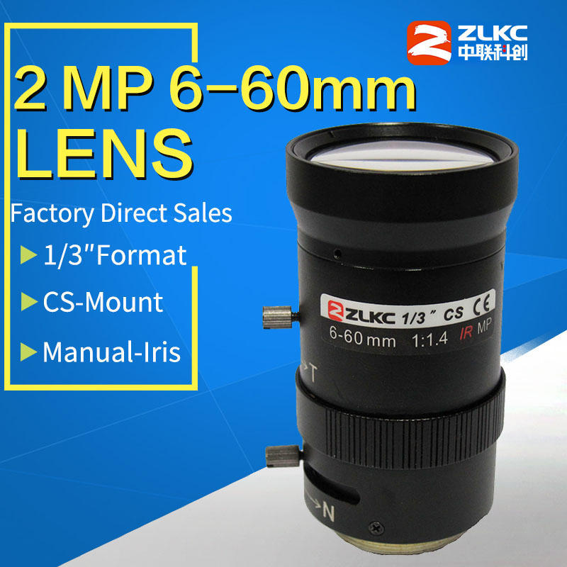 2.0Megapixel 6-60mm HD CCTV Lens Manual Iris Varifocal CS Mount F1.6 For 720P/960H/1080P/ 2MP/IP/Box Camera Lens FA Lenses
