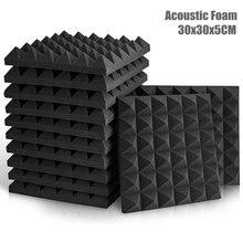 Almofada à prova de som da esponja da espuma da parede da sala do tratamento de isolação ktv drun 12/24 pces 30x30x5cm do estúdio espuma acústica painéis