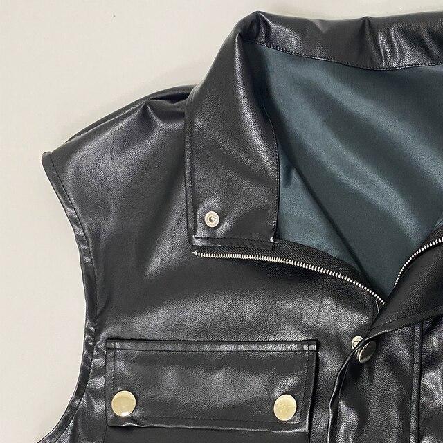 Forefair Winter Women Faux Lether Jacket Zip Short Sleeveless PU Casual Big Pocket Drop Shoulder Women Vest Coat 5