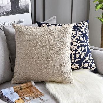50x50cm American sielankowe kwiatowe haftowana poszewka na poduszkę bawełna wysokiej jakości poszewka na poduszkę Sofa kanapa haftowana poduszka pokrywa tanie i dobre opinie XC USHIO CN (pochodzenie) Bez wzorków Szydełkowane Floral Plac Seat DEKORACYJNY Chair SAMOCHÓD Unicorn Cushion Cover