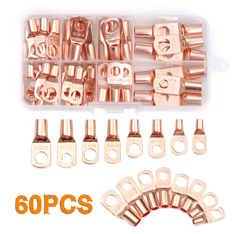 60PCS SC6-25 Copper Lug Ring Wire Connectors Ring Eyes for Battery Bare Cable Electric Wire Crimp Terminal SC6-25 Kit with Box