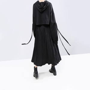 Image 4 - חדש 2020 קוריאני סגנון חורף אישה מזדמן ארוך קפלים חצאית גבוהה מותן עור מפוצל ירוק שחור טלאים גבירותיי המפלגה חצאית 5695