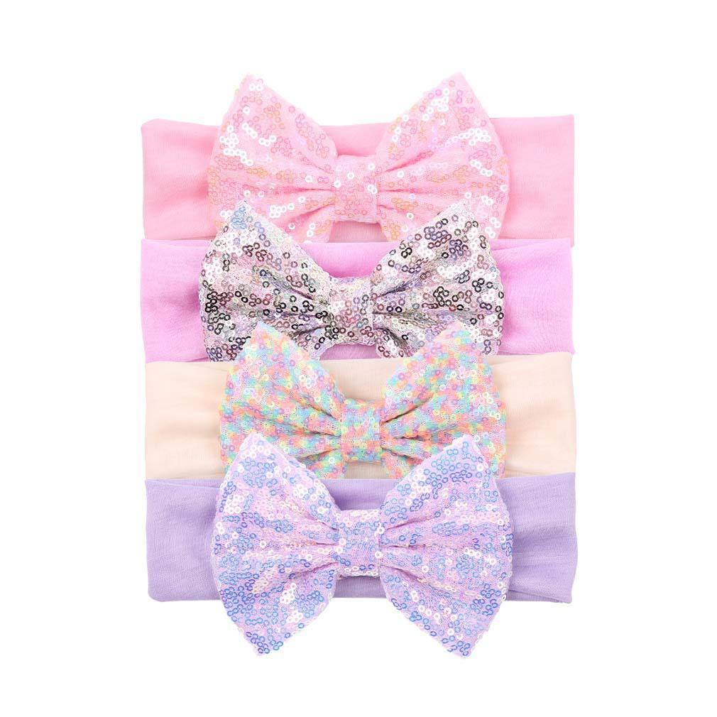 Newly Design Baby Girl Bling Bling Shining Headbands Elastic Hair Bands Kids Children Sequins Bow Hair Accessories