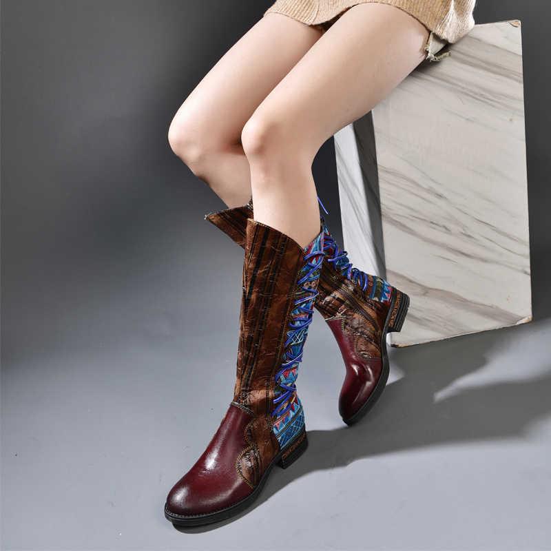 Ethnischen Stil Frauen Leder Schuhe Kniehohe Stiefel 2019 Original Handgemachten Gemischt Farbe Zipper Frauen Lange Stiefel