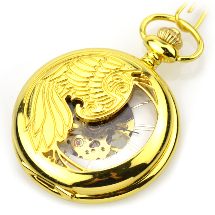 New Designs Phoenix Rich Gold Color Classic Carved Memorial Steel Hot Selling Mens Pocket Watch