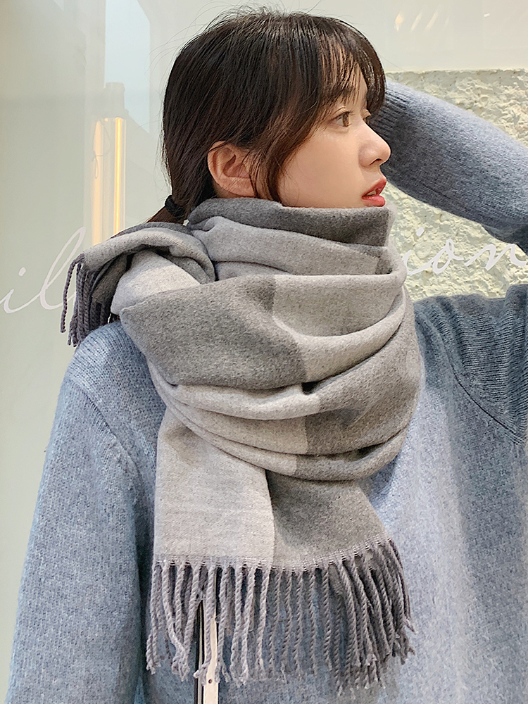 Brand Women Scarf Female Korean Version Versatile Double-sided Solid Color Shawl Fashion Thickened Warm Neck Winter Warm Scarves