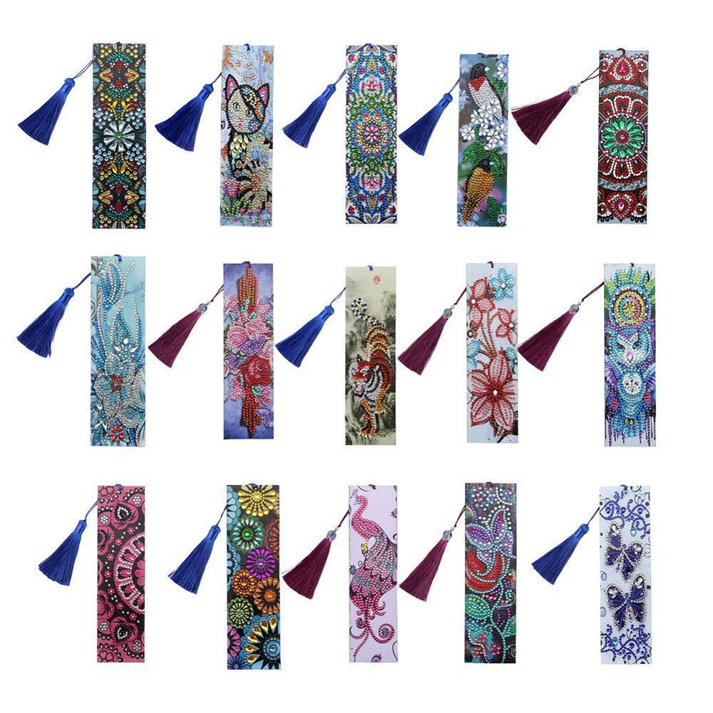5D DIY Diamond Painting Leather Bookmark Tassel Book Marks Special Shaped Diamond Embroidery DIY Craft