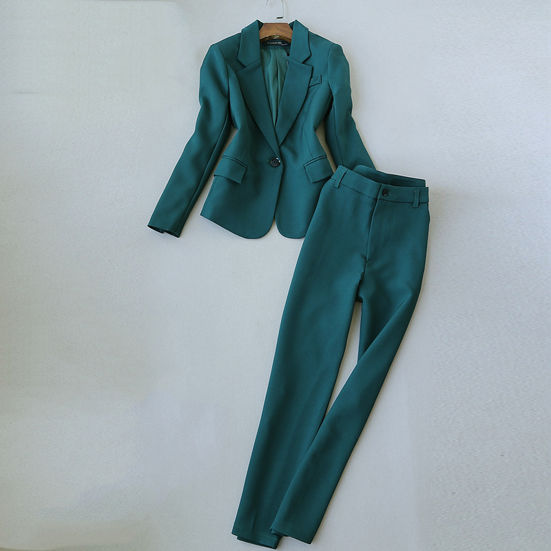 High-end Quality Professional Women's Suits Pants Suit New Autumn Slim Green Ladies Jacket Small Suit Female Office Casual Pants